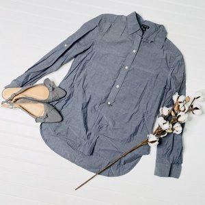 Ann Taylor Chambray Long Sleeve Popover Shirt